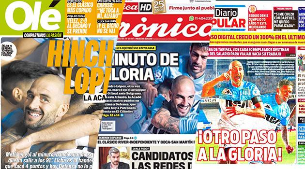 Acá las tapas de los principales diarios del país reflejando la victoria de Racing.