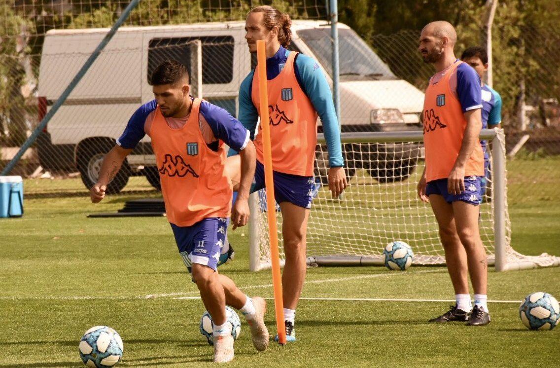El capitán de Racing, Lisandro López, volvió a entrenar con sus compañeros.