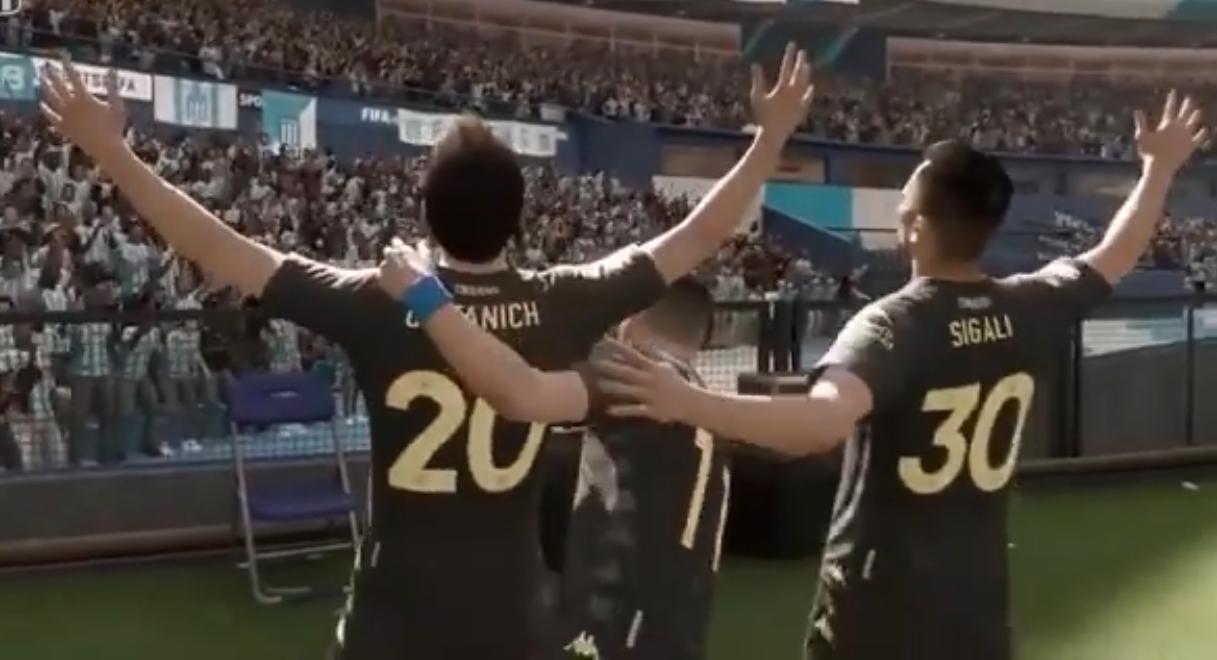 Festejo de gol en el FIFA 20.